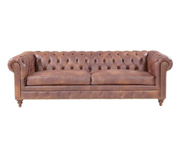 Derrys Furniture Chesterfield Brown Leather 2.5 Seater Sofa