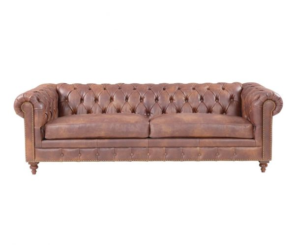 Derrys Furniture Chesterfield Brown Leather 3 Seater Sofa