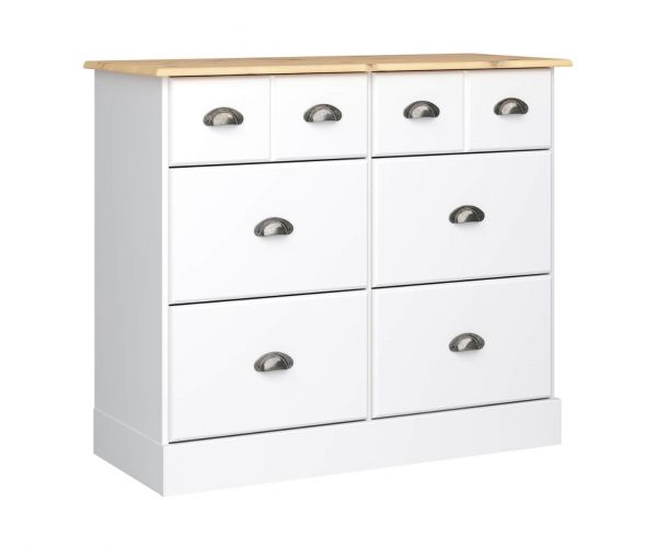 Steens Nola White and Pine 4+2 Wide Drawer Chest