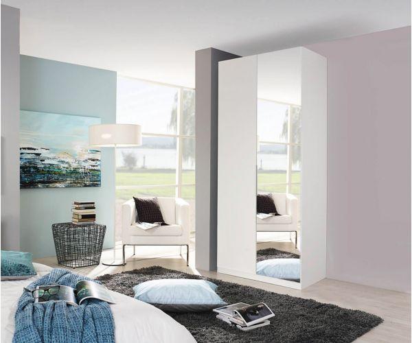 Rauch Zenaya Silk Grey and White High Gloss Front 2 Door 1 Mirror Wardrobe
