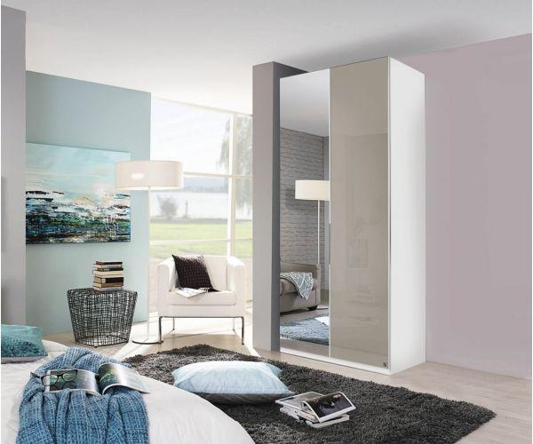 Rauch Zenaya Royal Walnut Colour and Cappuccino High Gloss Front 2 Door 1 Mirror Wardrobe