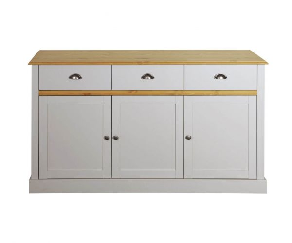 Steens Sandringham White and Pine 3 Door 3 Drawer Sideboard