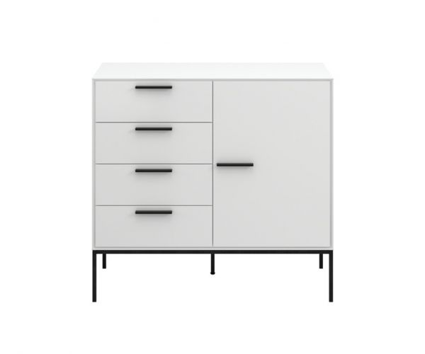 Steens Slimline White 4 Drawer 1 Door Cupboard
