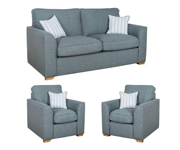 Buoyant Upholstery Louis Fabric 3+1+1 Sofa Set