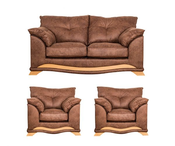 Buoyant Upholstery Nicole Fabric 3+1+1 Sofa Set