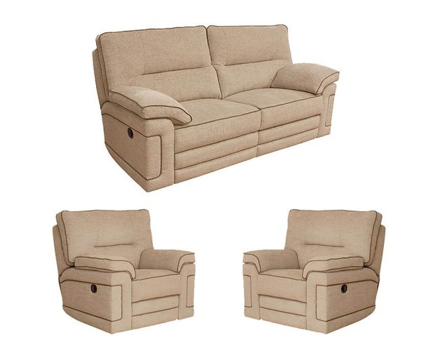 Buoyant Upholstery Plaza Fabric Recliner 3+1+1 Sofa Set