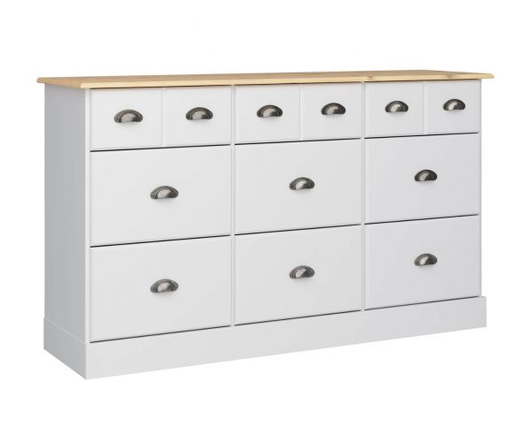 Steens Nola White and Pine 6+3 Drawer Chest