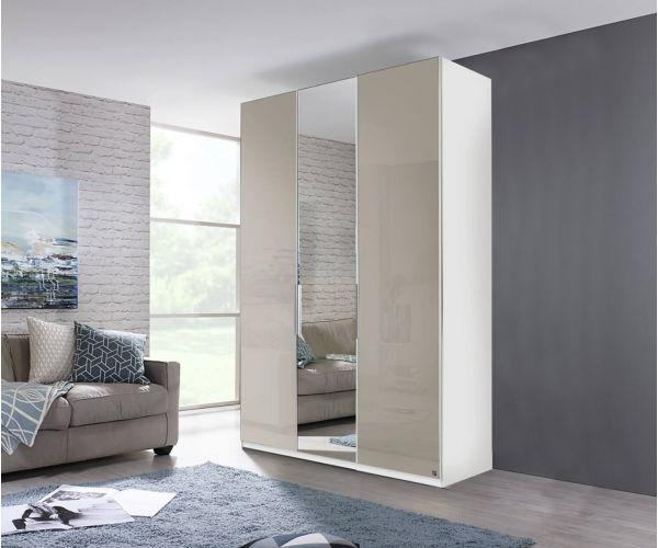 Rauch Zenaya Graphite and Cappuccino High Gloss Front 3 Door 1 Mirror Wardrobe