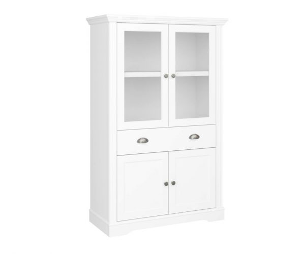Steens Venice White 4 Door 1 Drawer Display Cabinet