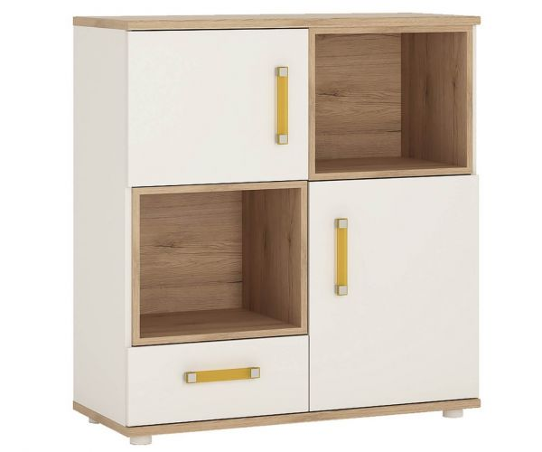 FTG 4 Kids 2 Door 1 Drawer Cupboard with 2 Open Shelves
