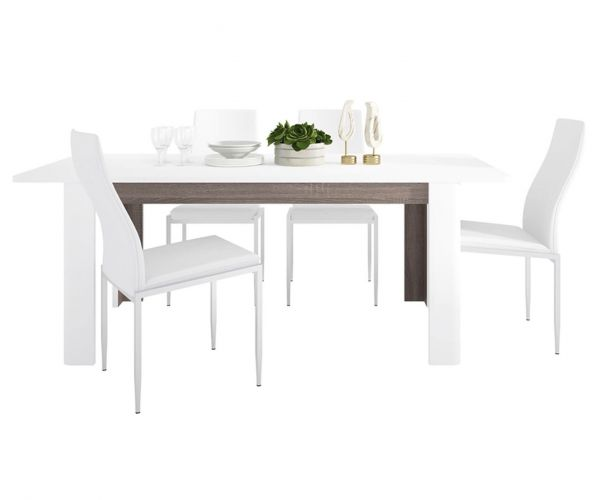 FTG Dining Set Package Chelsea Living Extending Dining Table with 4 Milan White High Back Chair