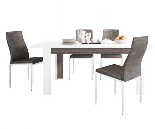 FTG Dining Set Package Chelsea Living Extending Dining Table with 4 Milan Dark Brown High Back Chair