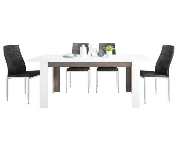 FTG Dining Set Package Chelsea Living Extending Dining Table with 4 Milan Black High Back Chair