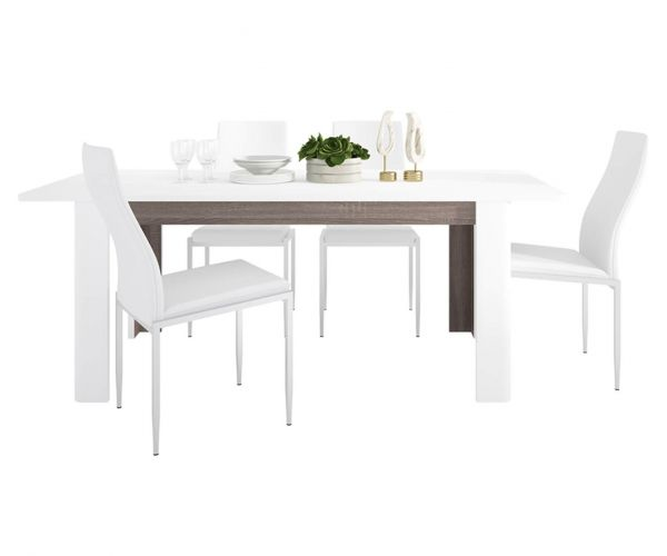 FTG Dining Set Package Chelsea Living Extending Dining Table with 6 Milan White High Back Chair