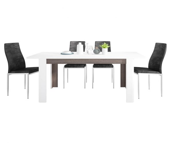 FTG Dining Set Package Chelsea Living Extending Dining Table with 6 Milan Black High Back Chair