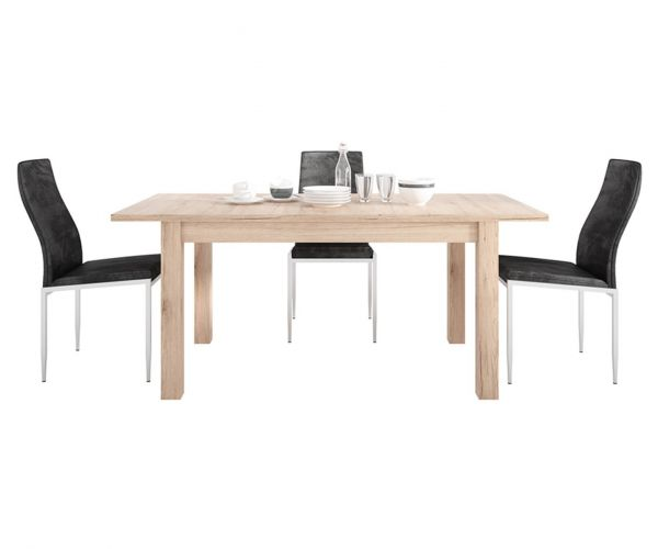 FTG Dining Set Package Kensington Living Extending Dining Table with 6 Milan Black High Back Chair