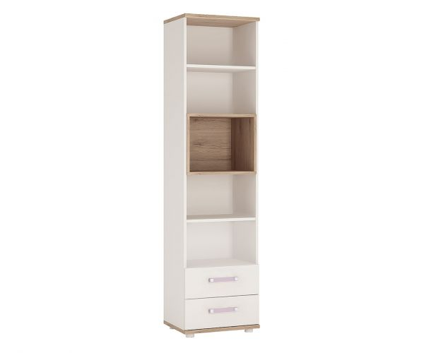 FTG 4Kids Tall 2 Drawer Bookcase with Lilac Handles