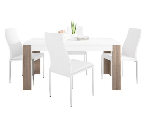 FTG Dining Set Package Toronto 160cm Dining Table with 4 Milan White High Back Chair