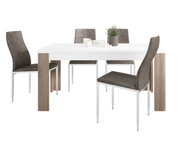 FTG Dining Set Package Toronto 160cm Dining Table with 4 Milan Dark Brown High Back Chair