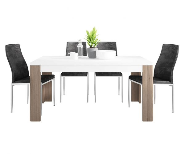 FTG Dining Set Package Toronto 160cm Dining Table with 4 Milan Black High Back Chair