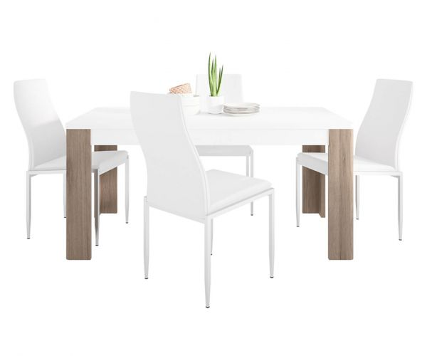 FTG Dining Set Package Toronto 160cm Dining Table with 6 Milan White High Back Chair