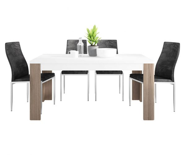 FTG Dining Set Package Toronto 160cm Dining Table with 6 Milan Black High Back Chair