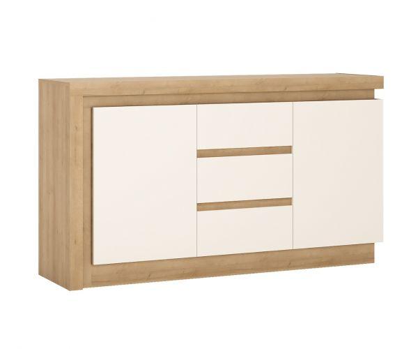 FTG Lyon Riviera Oak and White High Gloss 2 Door 3 Drawer Sideboard