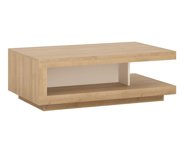FTG Lyon Riviera Oak and White High Gloss Designer Coffee Table