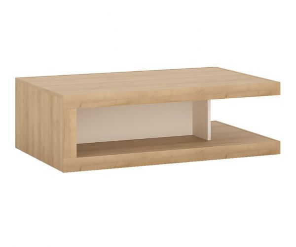FTG Lyon Riviera Oak and White High Gloss Designer Coffee Table on Wheels