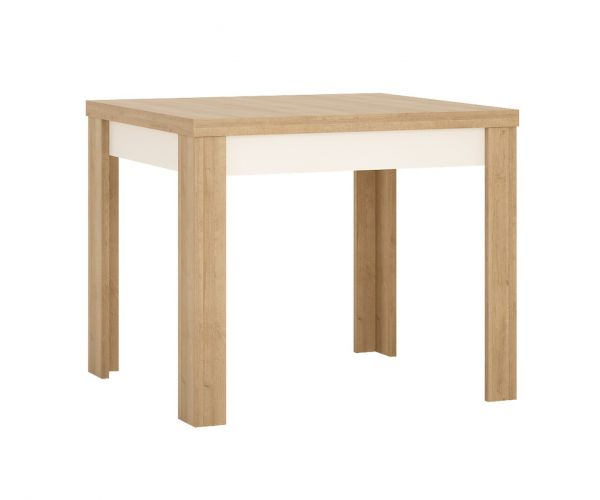 FTG Lyon Riviera Oak and White High Gloss Small Extending Dining Table