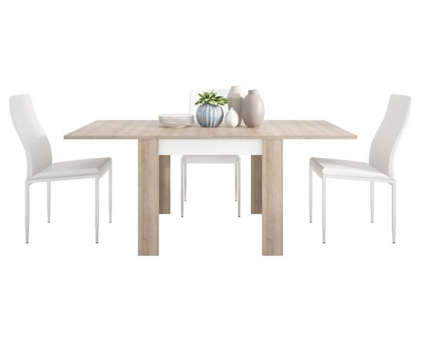 FTG Dining Set Package Lyon Small Extending Dining Table with 6 Milan White High Back Chair