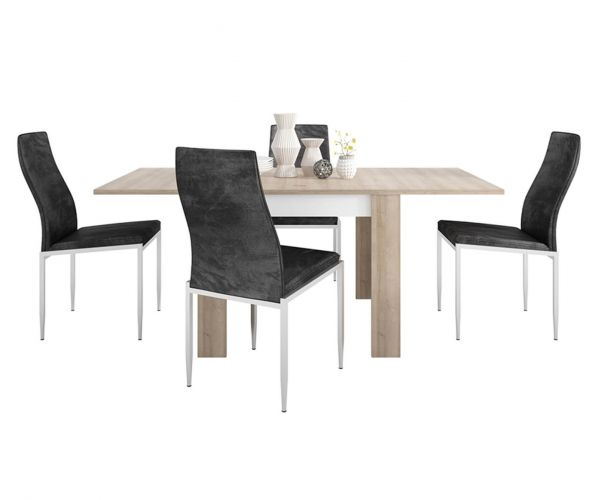 FTG Dining Set Package Lyon Small Extending Dining Table with 6 Milan Black High Back Chair