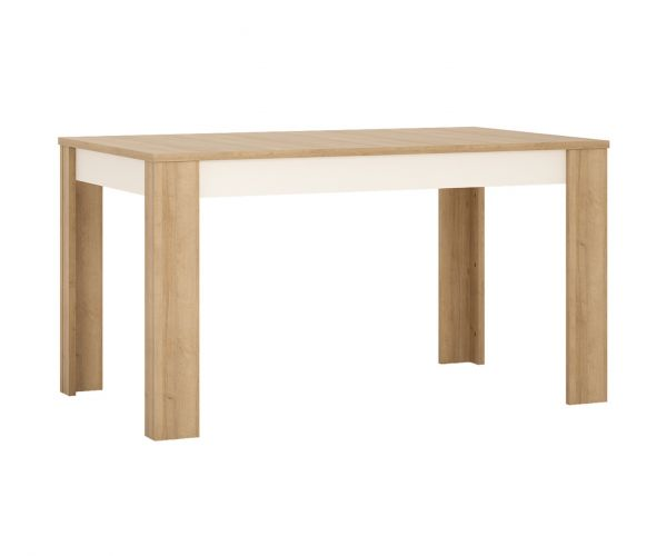 FTG Lyon Riviera Oak and White High Gloss Medium Extending Dining Table