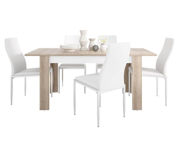 FTG Dining Set Package Lyon Medium Extending Dining Table with 6 Milan White High Back Chair