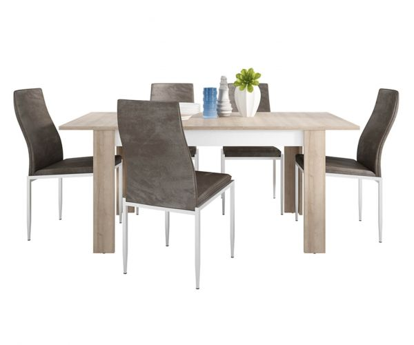 FTG Dining Set Package Lyon Medium Extending Dining Table with 6 Milan Dark Brown High Back Chair