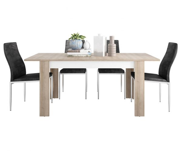 FTG Dining Set Package Lyon Medium Extending Dining Table with 6 Milan Black High Back Chair