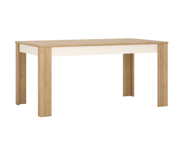 FTG Lyon Riviera Oak and White High Gloss Large Extending Dining Table