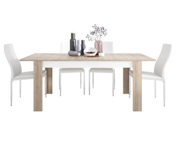 FTG Dining Set Package Lyon Large Extending Dining Table with 4 Milan White High Back Chair