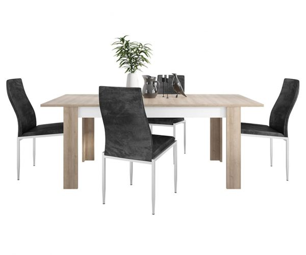 FTG Dining Set Package Lyon Large Extending Dining Table with 4 Milan Black High Back Chair