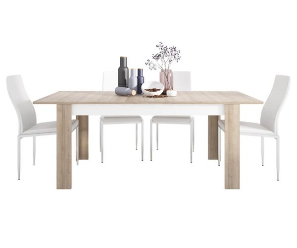 FTG Dining Set Package Lyon Large Extending Dining Table with 6 Milan White High Back Chair