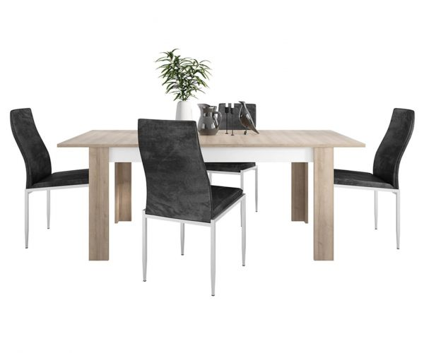 FTG Dining Set Package Lyon Large Extending Dining Table with 6 Milan Black High Back Chair