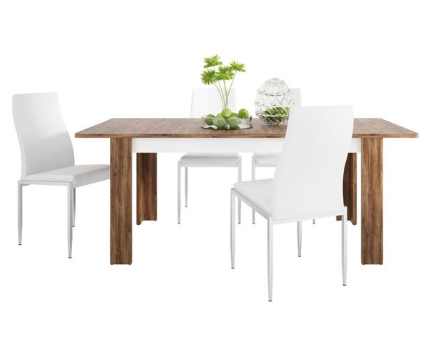 FTG Dining Set Package Toledo Extending Dining Table with 4 Milan White High Back Chair