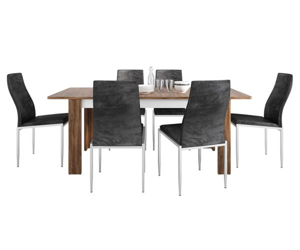 FTG Dining Set Package Toledo Extending Dining Table with 4 Milan Black High Back Chair