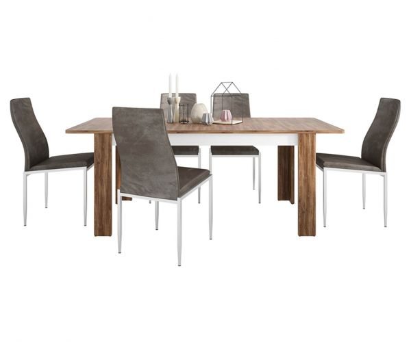 FTG Dining Set Package Toledo Extending Dining Table with 6 Milan Dark Brown High Back Chair