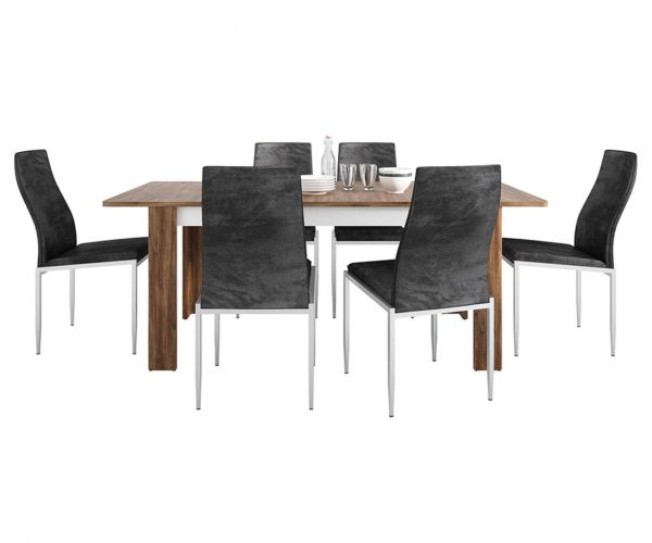 FTG Dining Set Package Toledo Extending Dining Table with 6 Milan Black High Back Chair