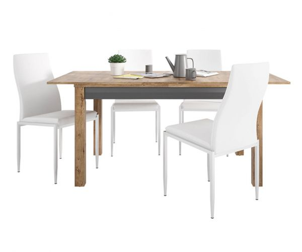 FTG Dining Set Package Havana Extending Dining Table with 4 Milan White High Back Chair