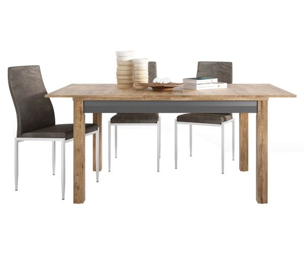 FTG Dining Set Package Havana Extending Dining Table with 4 Milan Dark Brown High Back Chair