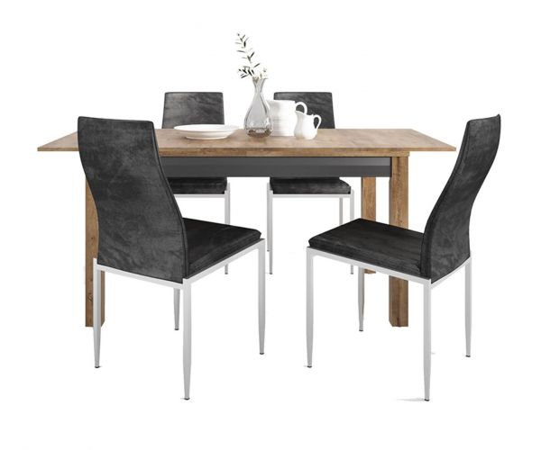 FTG Dining Set Package Havana Extending Dining Table with 4 Milan Black High Back Chair