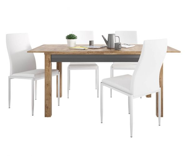 FTG Dining Set Package Havana Extending Dining Table with 6 Milan White High Back Chair