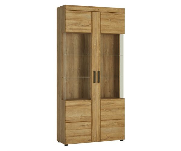 FTG Cortina Grandson Oak Tall Wide 2 Door Glazed Display Cabinet